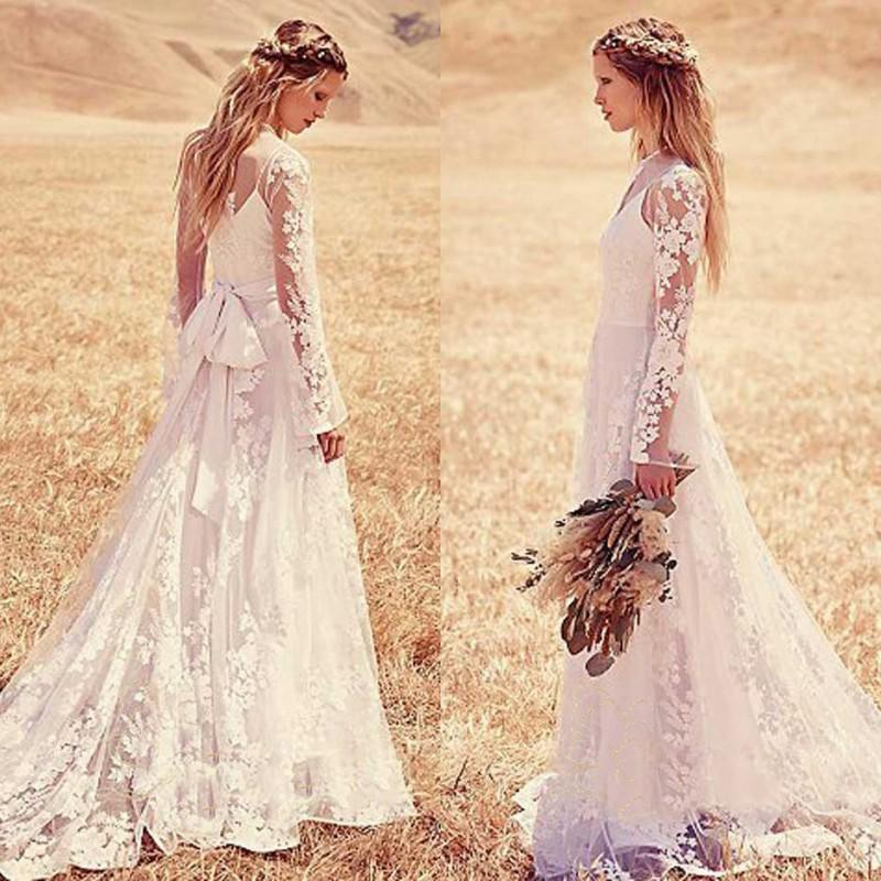 Vintage lace wedding dresses casual boho bridal gowns for Boho casual wedding dress