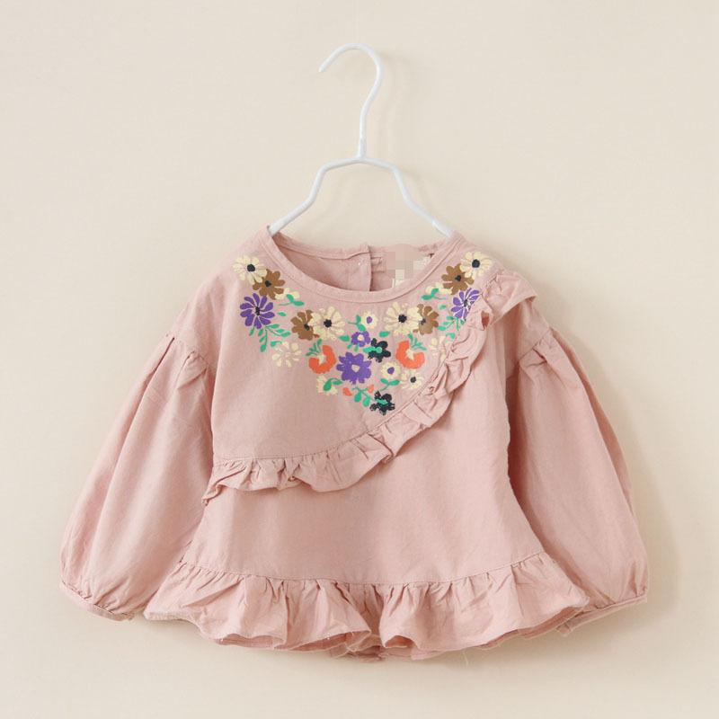 Latest girl loose cute floral embroidered shirt baby