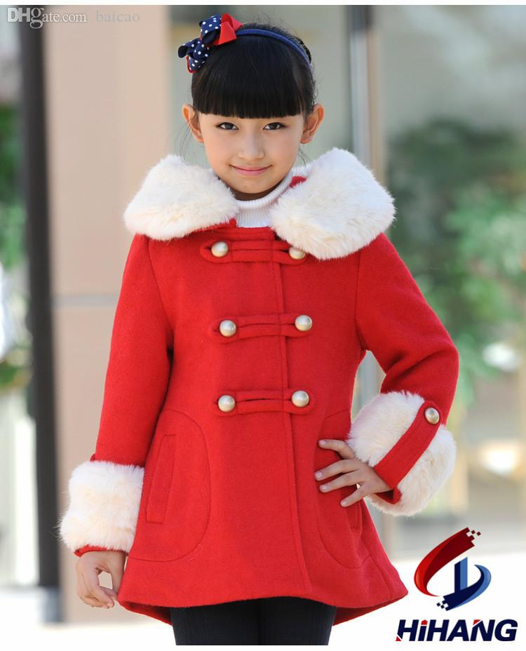 Wholesale Hot Sale Winter Girls Woolen Coat Thick Warm Jacket