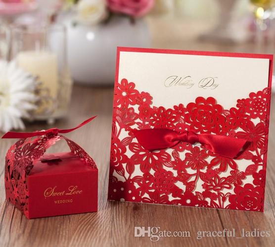Red Wedding Invitations Laser Cut Hollow Out Printable Inner – Cheap Red Wedding Invitations