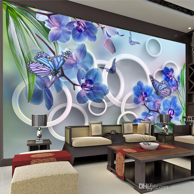 3d photo wallpaper butterfly orchid large wall mural poster custom pastoral landscape