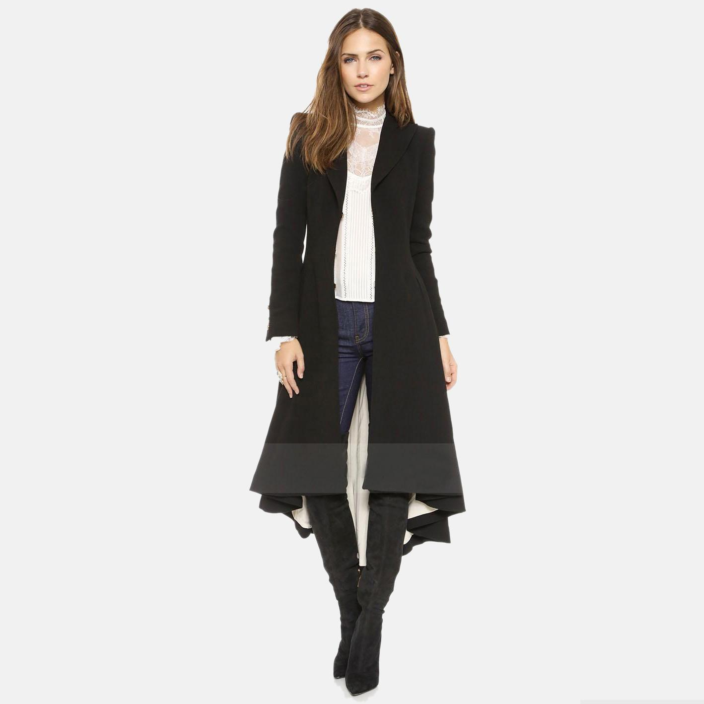 Black Spring Style Trench Coats For Women Fashion Outwear
