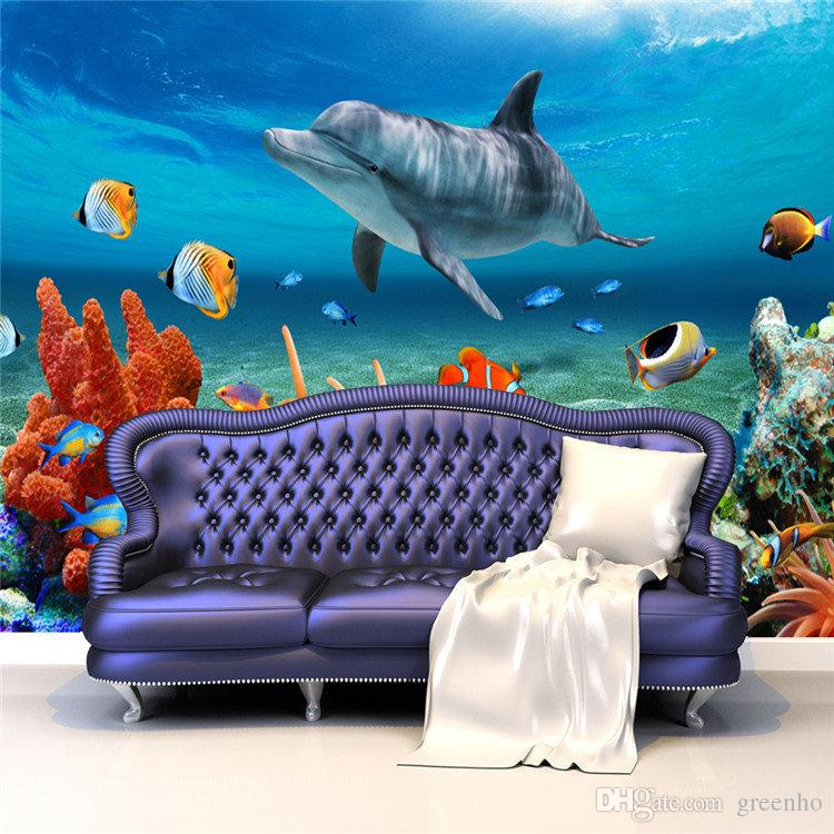 Dolphin Wallpaper For Walls : Lovely 3D Custom Cute Dolphin Coral Photo Wallpaper Sea World Wall ...