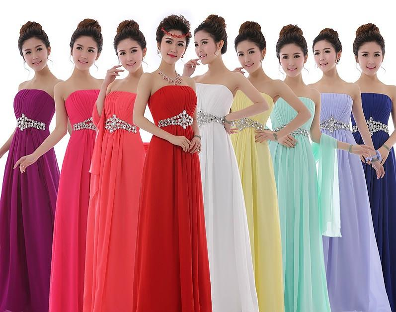 2015 New Bridesmaid Wedding Lace-up Dresses Formal Prom Chiffon A ...