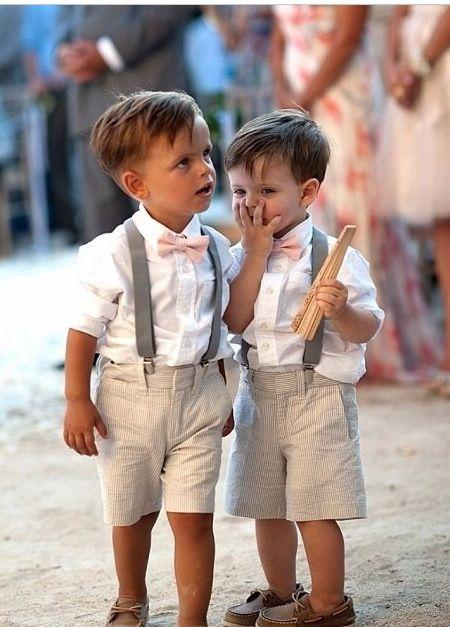 Wholesale New 2015 Summer Beach Boys Wedding Clothes With White Shirt Short Pants Pink Bow