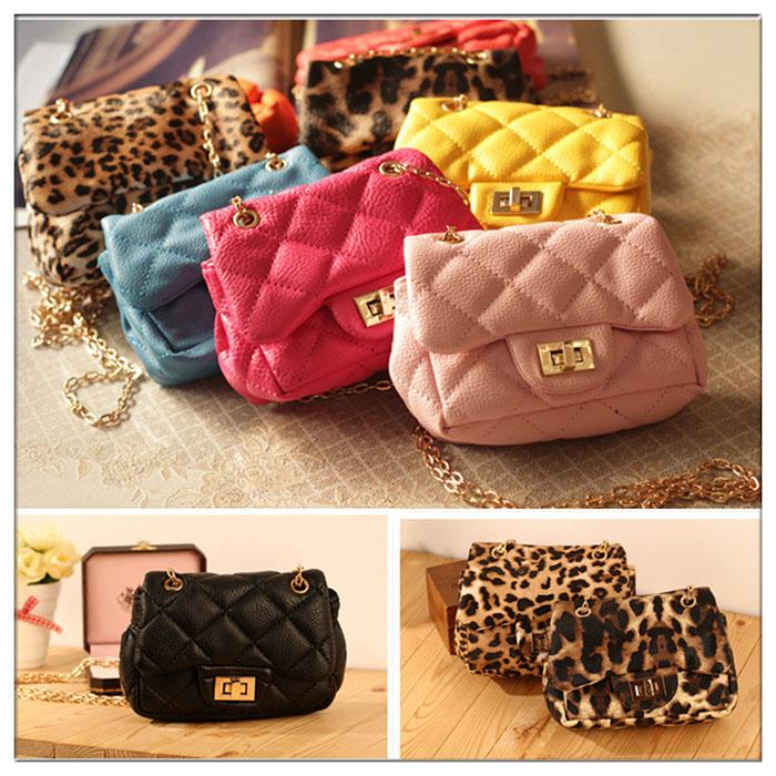 Girls PU Purse Kids Mini Handbags with Metal Chain Children ...