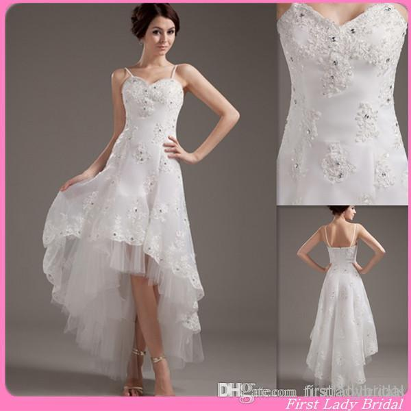 2015 sexy beach high low wedding gowns spaghetti straps a line appliques lace country style bridal dresses chinese bride dress designer beach wedding gown
