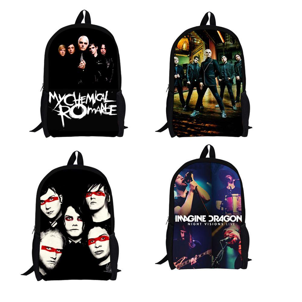 School bag new design - New Design Imagine Dragons Band Boys School Backpacks My Chemical Romance Kids School Bag With Zipper