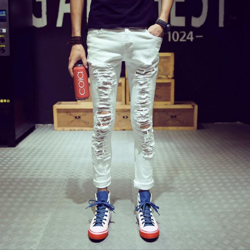 Discount Fashion Black Ripped Skinny Jeans For Men 100% Cotton ...
