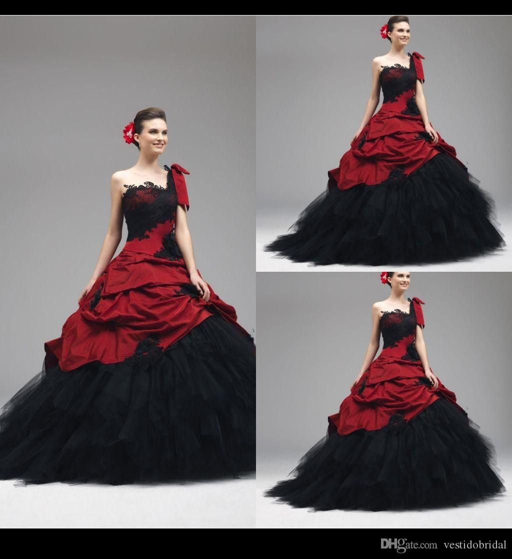 Vintage Red And Black Wedding Dresses 2015 One Shoulder Lace Ruffle ... Vintage Black And Red Bridesmaid Dresses