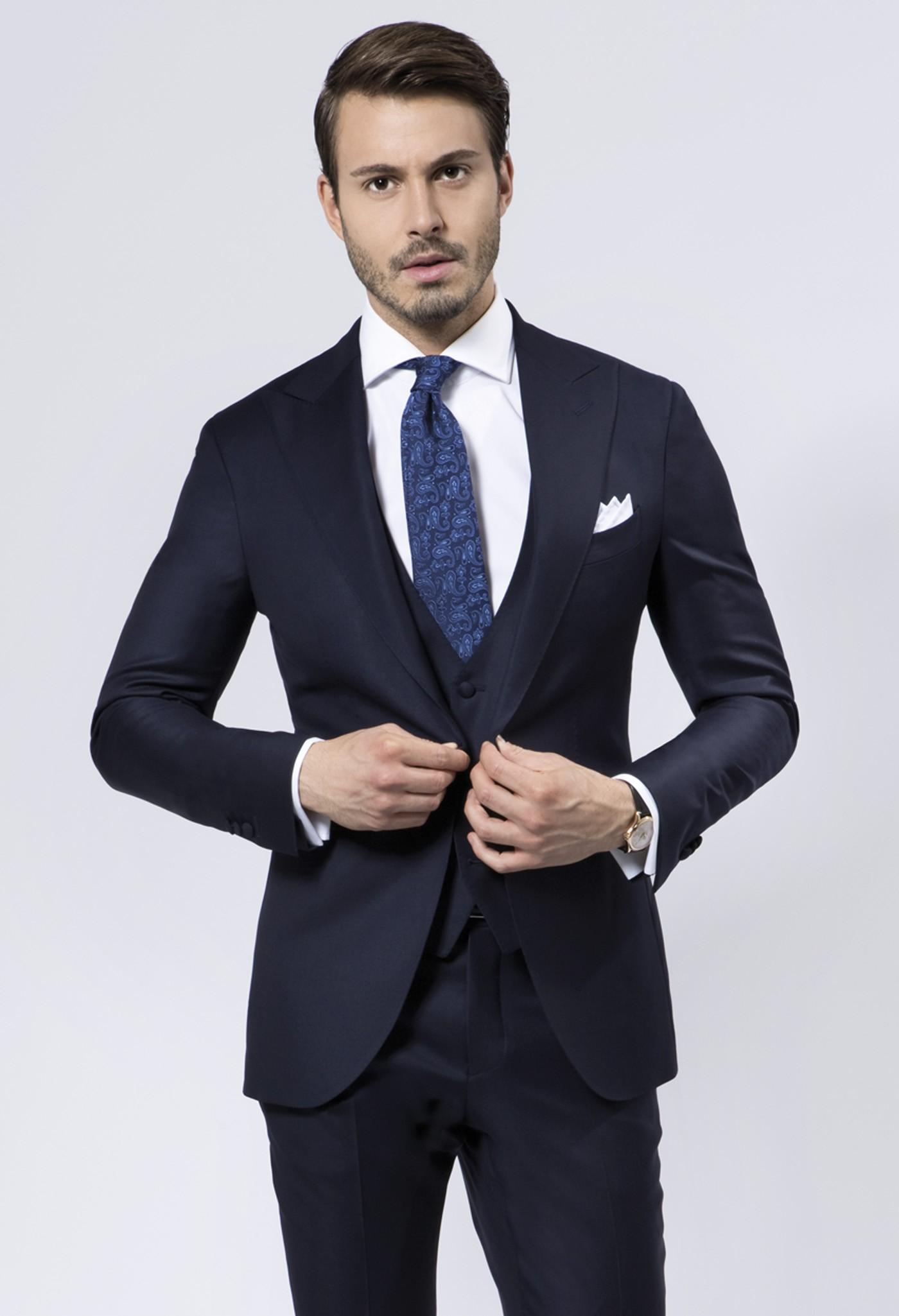 Navy Blue Wedding Suits For Men Peaked Lapel Mens Suits One Button ...