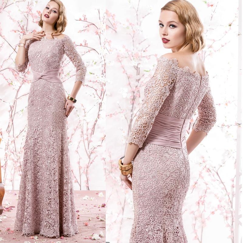 Pink 3/4 Sleeves Mother Of The Bride Dresses Long Lace Applique ...