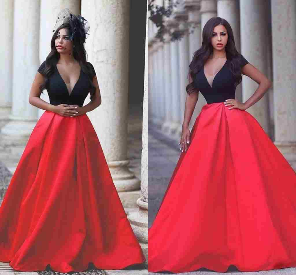 y V Neck Black And Red Long Evening Gowns 2015 Luxury
