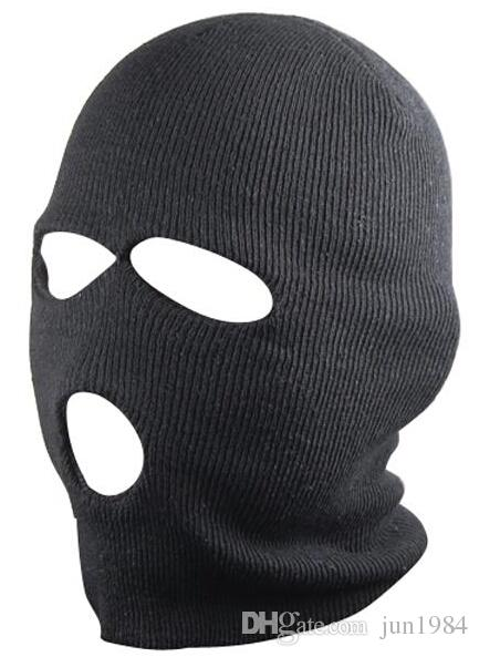 3 Trous Noir Balaclava SAS style Masque Neck Warmer Ski Hat Paintball Pêche
