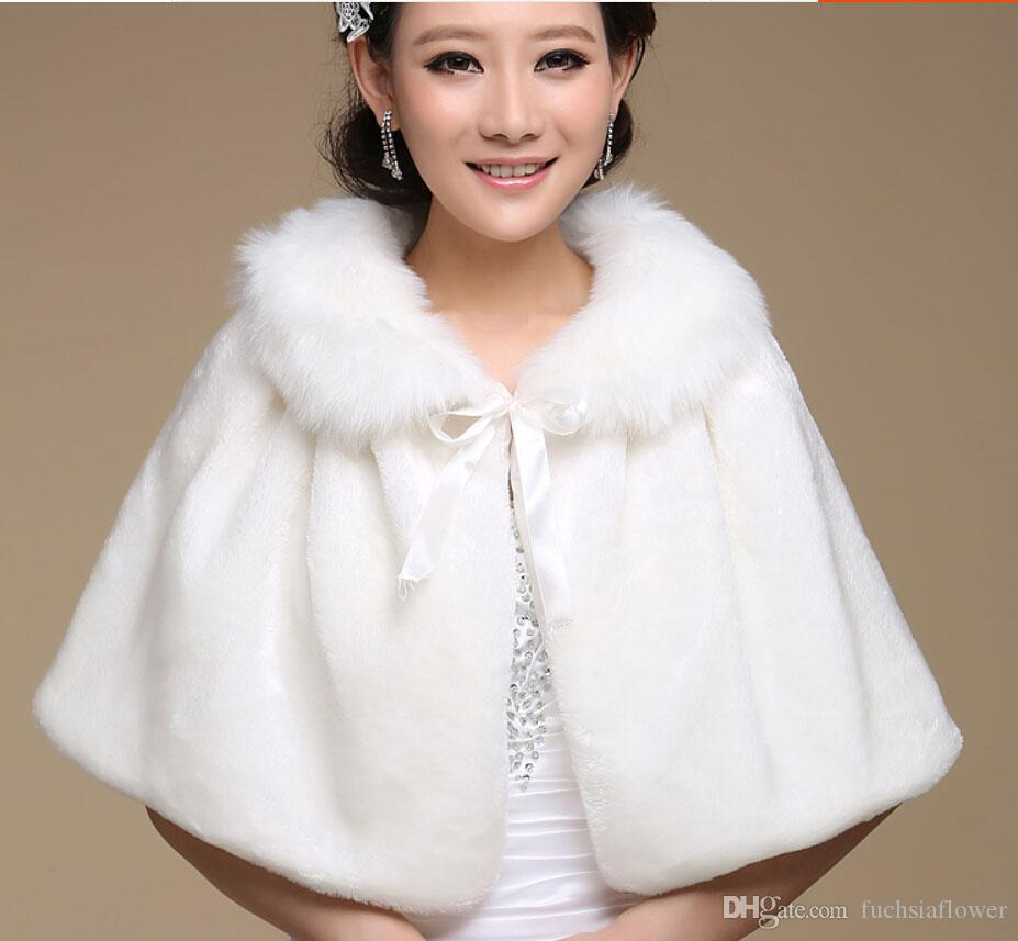 2017 white womens fashion faux fur jacket bridal wedding for Cocktail dress with jacket for wedding