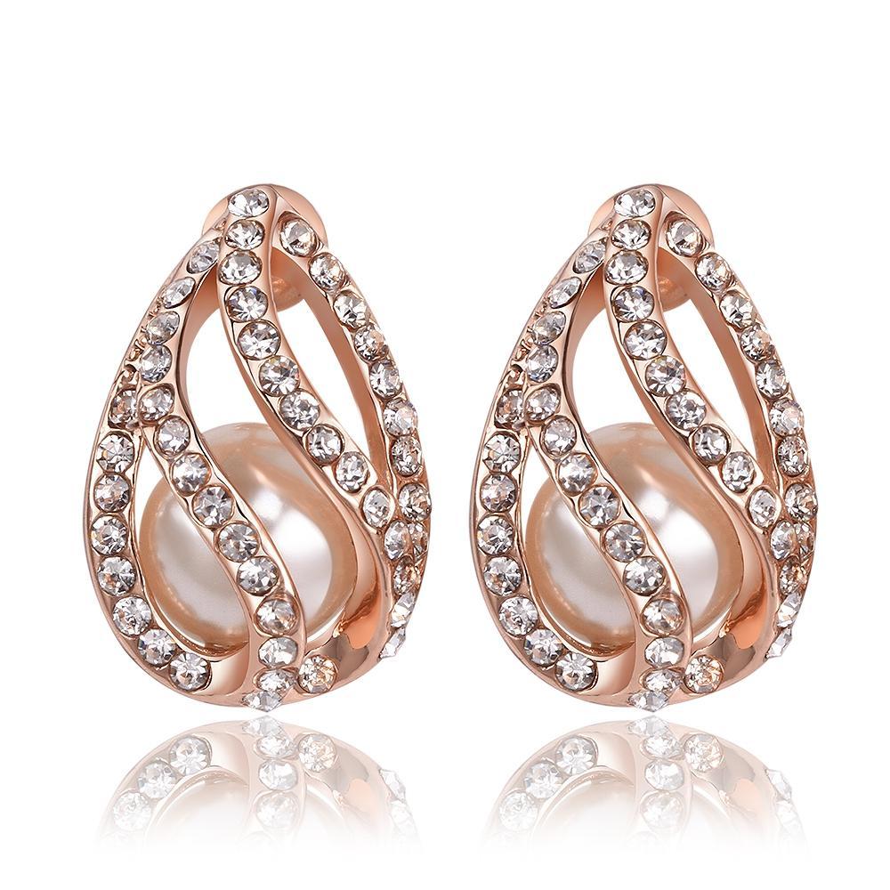 2017 Fashion Earring 18k Rose Gold Plated Diamond Earrings For Pearl Gold Stud  Earrings
