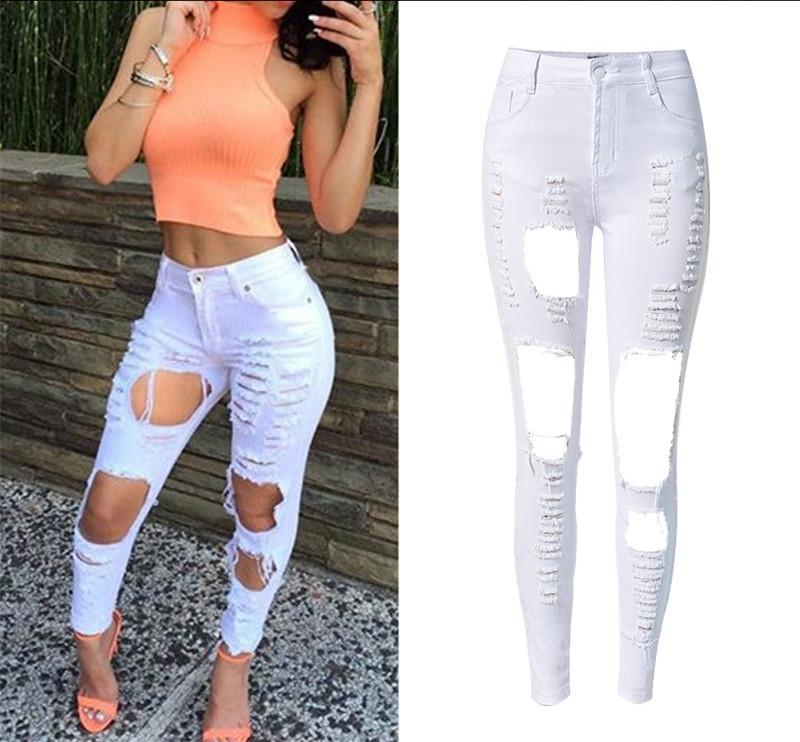 2017 Elastic Slim White Cotton Denim Full Length Ripped Jeans High ...