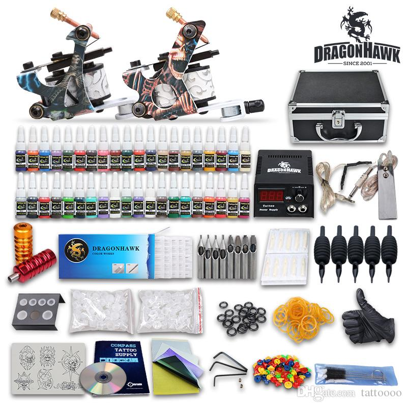 Details about top tattoo kit 2 machine gun ink tip power for Cheap tattoo kits amazon