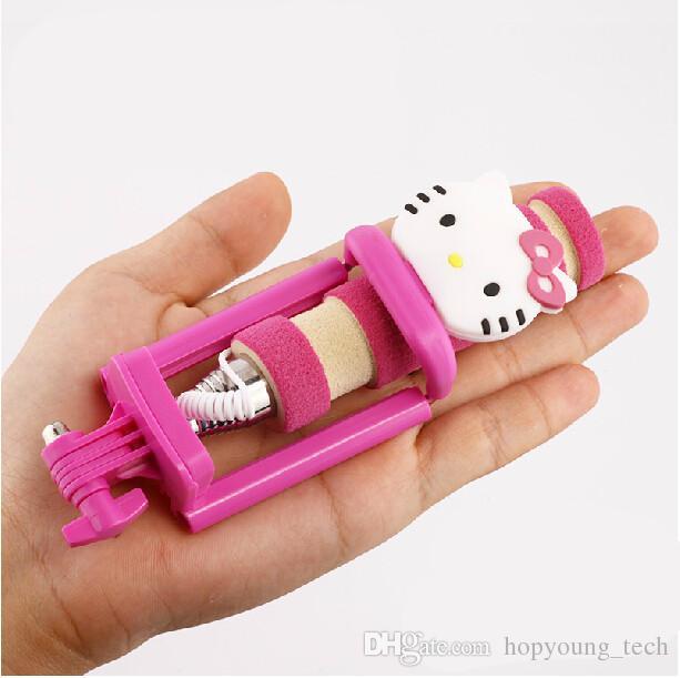 wholesale selfie monopods at get hello kitty wired mini cartoon selfie stick handheld. Black Bedroom Furniture Sets. Home Design Ideas