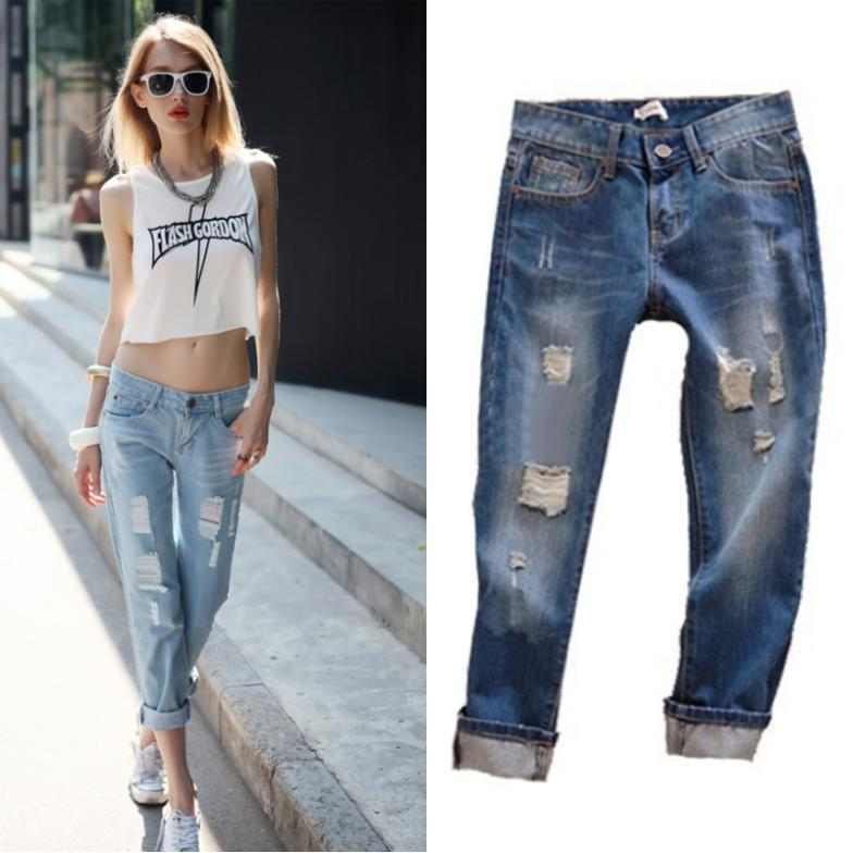 Discount 2016 Fashion Summer Jeans Woman Wearing White Retro Hole ...