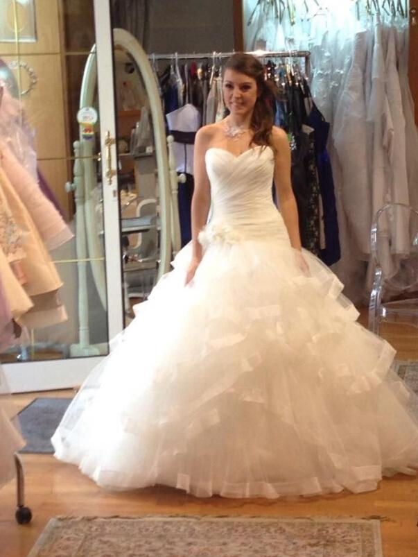Real Image 2015 Wedding Dresses Ball Gown Ruffle Bridal Gowns With ...