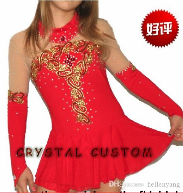Red figure skating dresses