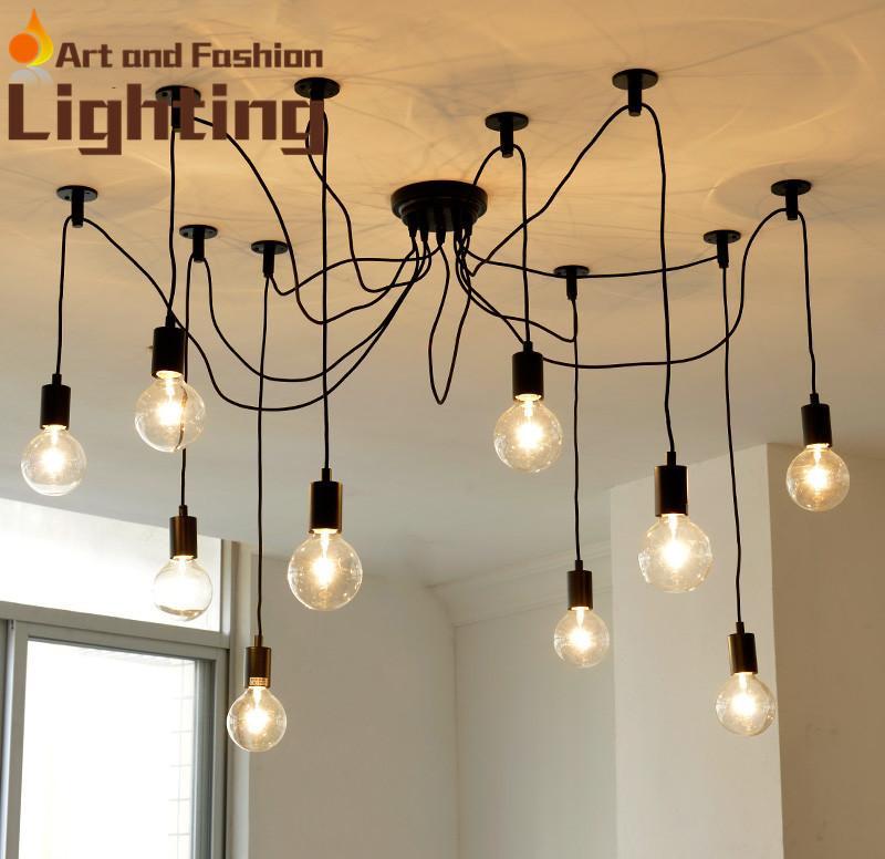 Minimalist Arts Loft Spider Cord Chandelier Industrial Style Decorative Wire Lights Vintage Light Edison Bulb