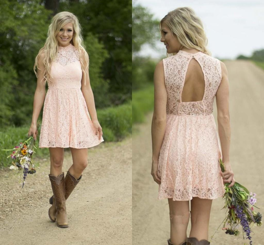 2016 New High Neck Lace Short Bridesmaid Dresses Cheap