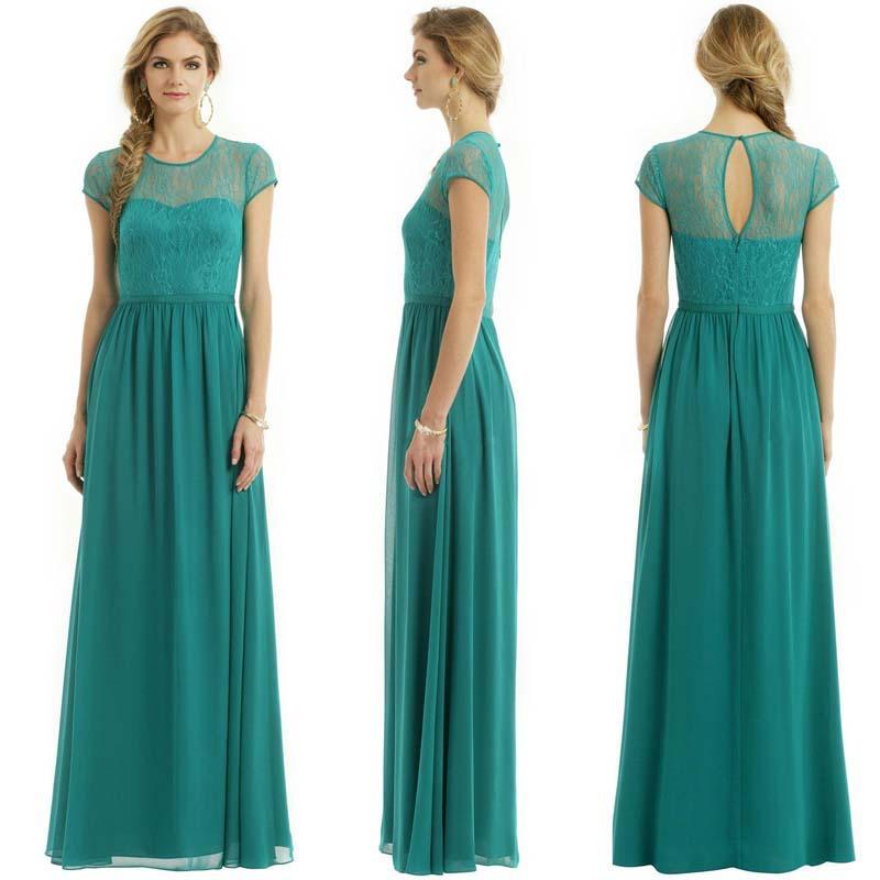 Cheap Long Green Chiffon Lace Bridesmaids Dresses Plus Size ...