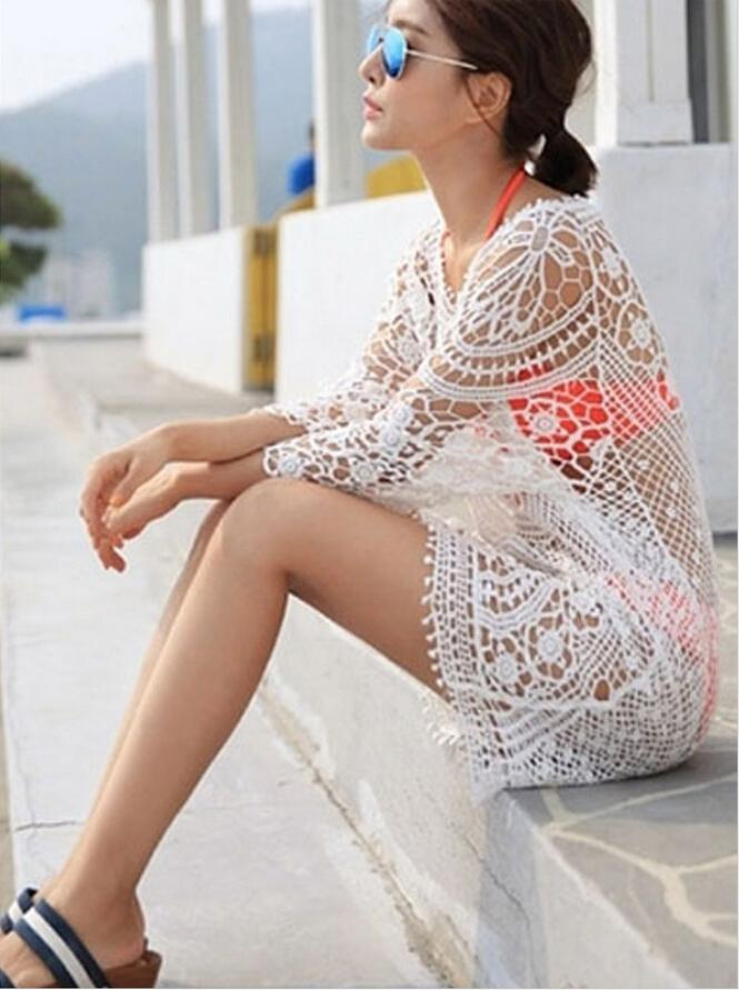 Nouveau 2015 Fashion Summer Womens Lace Crochet Hollow Beach Dress Tops manches
