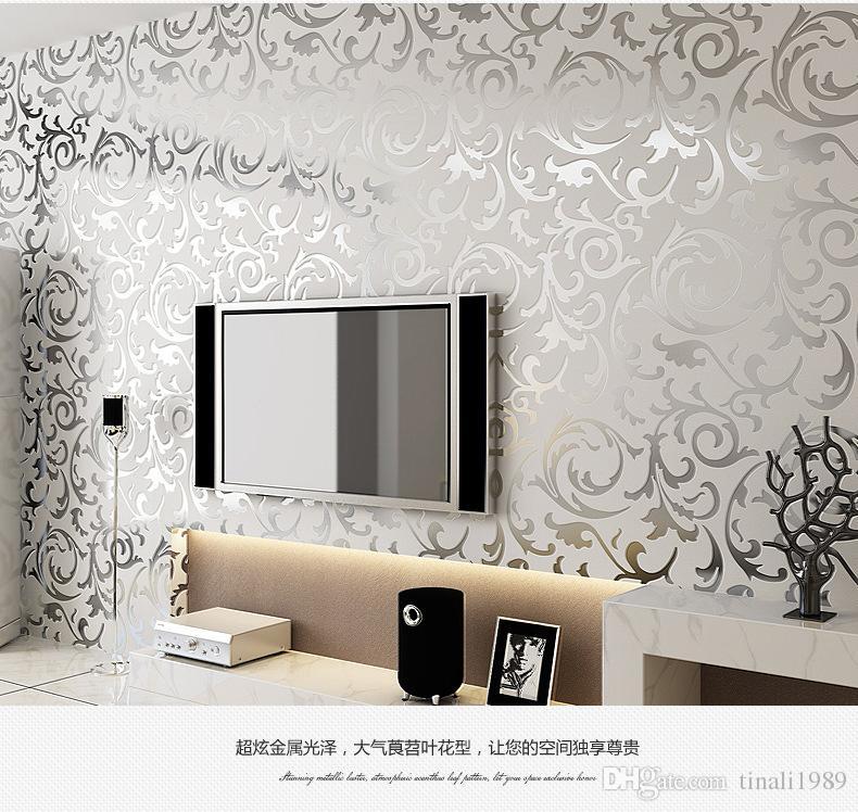 3d luxury golden wallpaper roll for walls damask murals for Best 3d wallpaper for living room