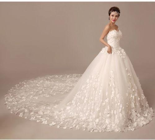 2015 New Lace Sweep Train Wedding Dress White/Ivory Bridal Gown ...