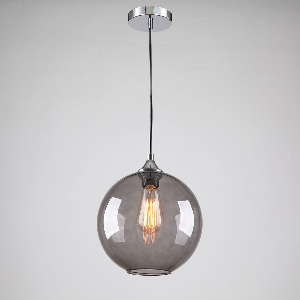 Pendant Lighting Living Room Modern Glass Pendant Light In Round Smoke Grey Bubble Design