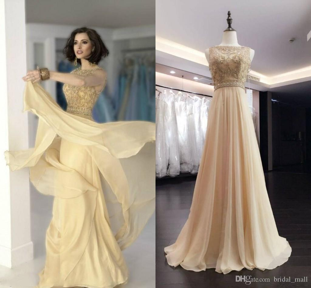 Elegant Prom Dresses A Line Jewel Floor Length Chiffon With ...
