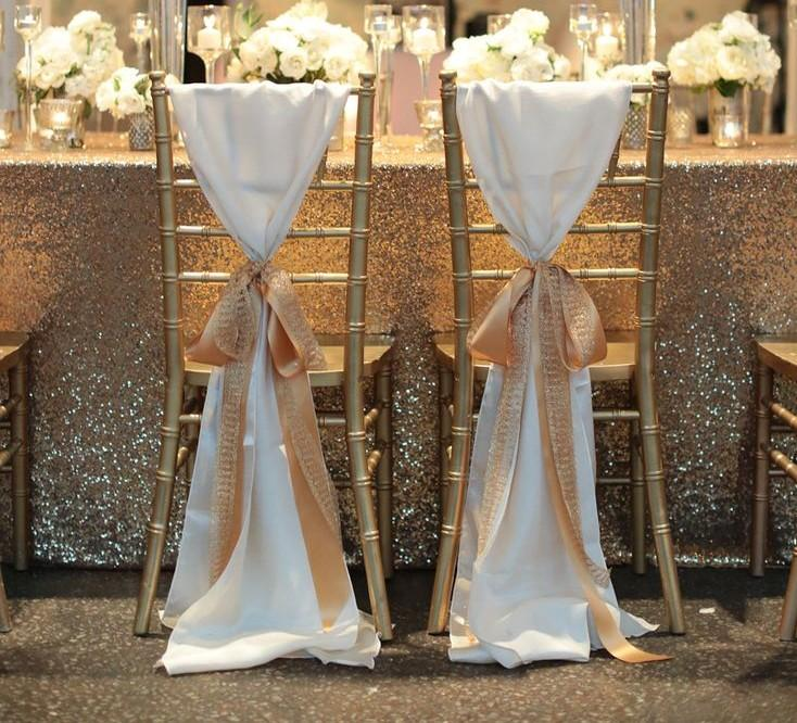 Hot Sale White Taffeta Chair Sashes With Golden Champagne