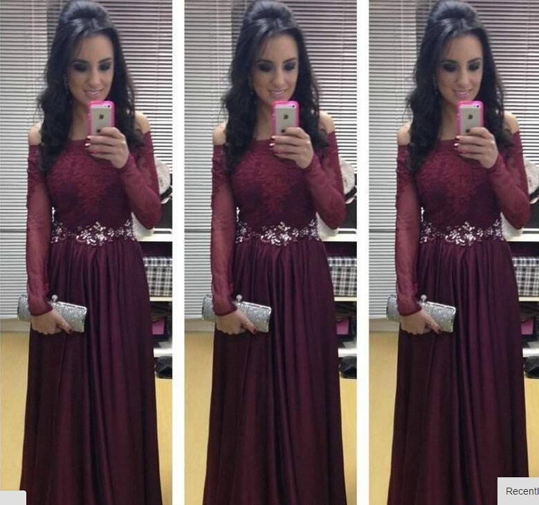 Off the Shoulder Maroon Prom Dresses 2016 New Arrival Long Sleeve ...