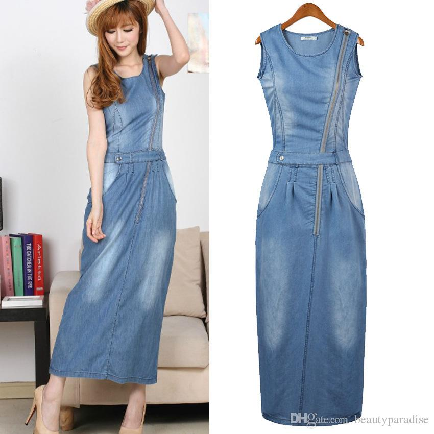 Women Jeans Dress 2016 Summer Cool Denim Dress Fashion Zipper Hole ...
