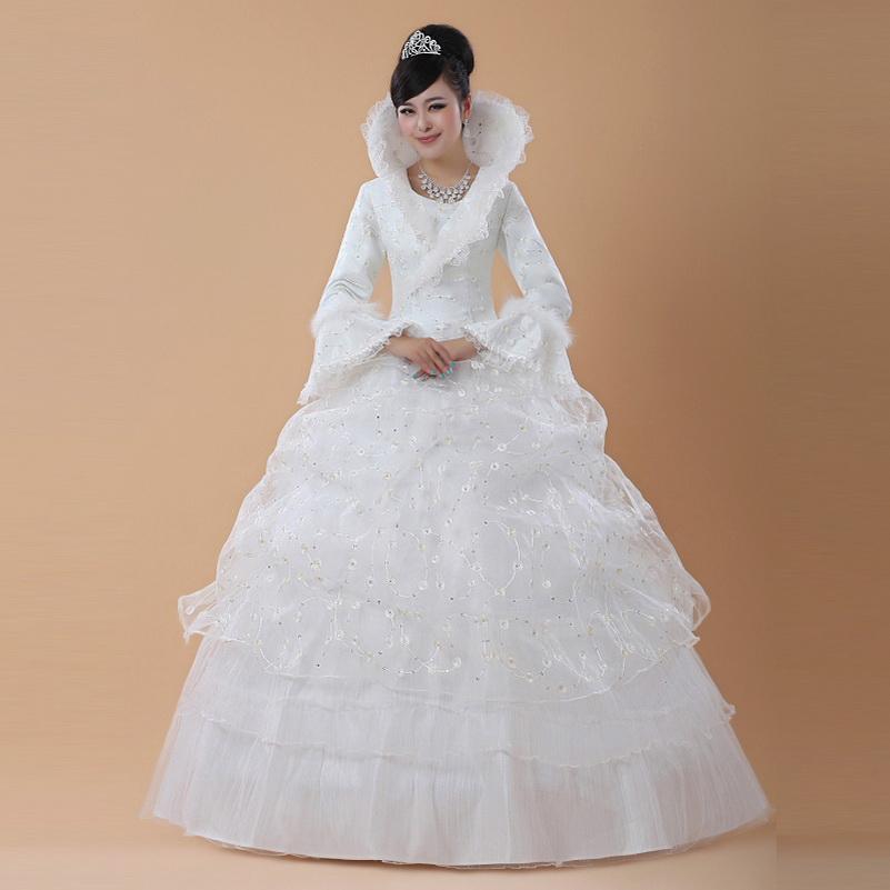 Discount Winter Bride Wedding Dress Cotton Wedding Dress Winter ...