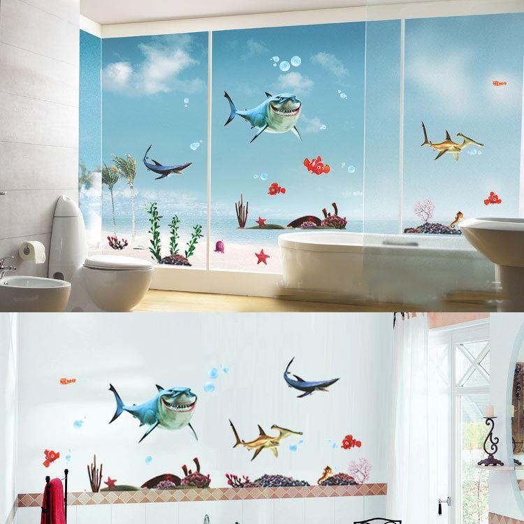 Shark 3D Fish Ocean Wall Sticker Home Decor Nursery Decals Wall Art Sticker D