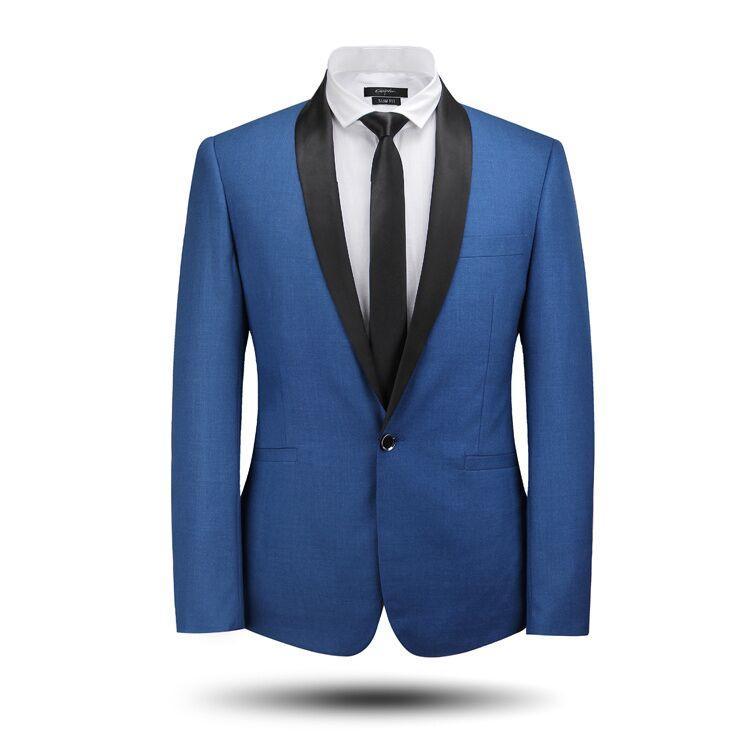 2015 Mens Suits Shawl Collar Blue Suits Formal Business Suits Men ...