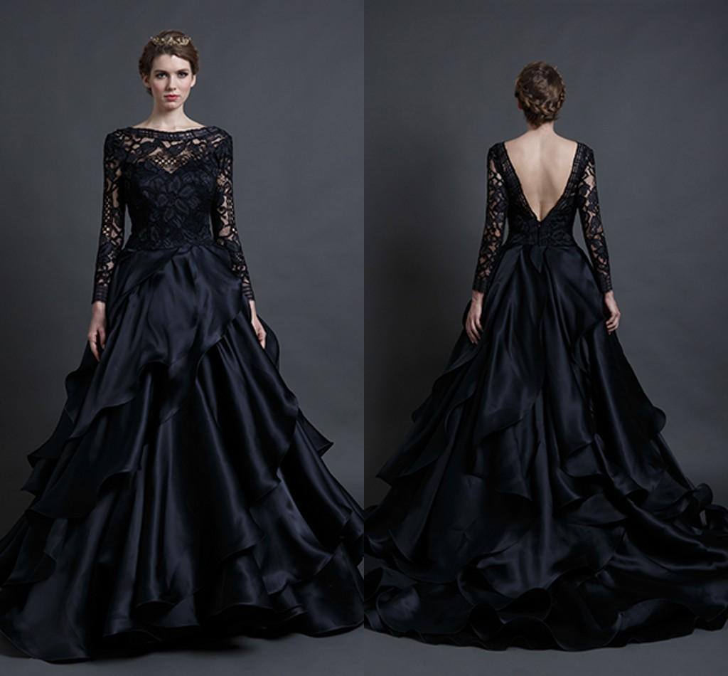 Discount 2016 black tiered skirt wedding dresses a line for Plus size gothic wedding dress