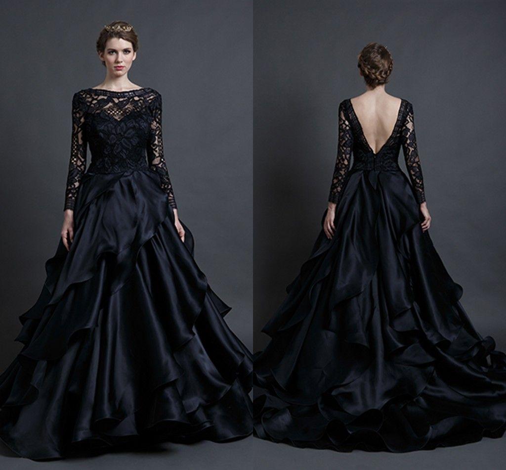 Discount 2016 Black Tiered Skirt Wedding Dresses A Line