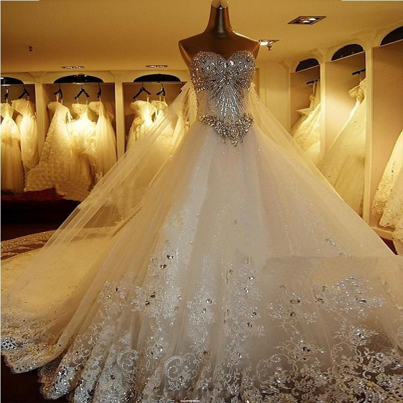 Top Luxury Wedding Dress : Top crystal lace sweetheart luxury wedding dress bridal