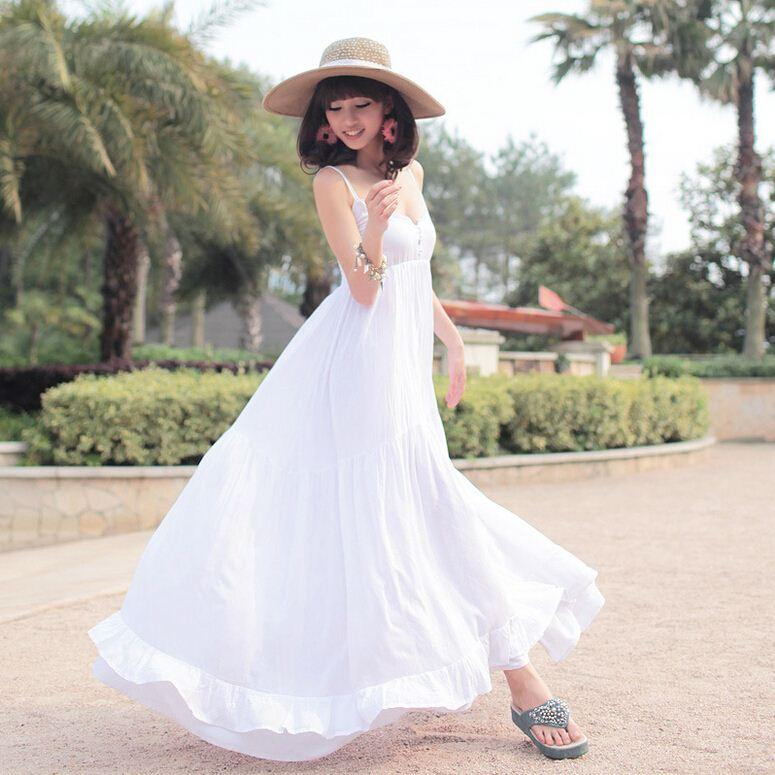 Discount New 2015 Summer Beach Dress Female Solid Cotton Maxi ...