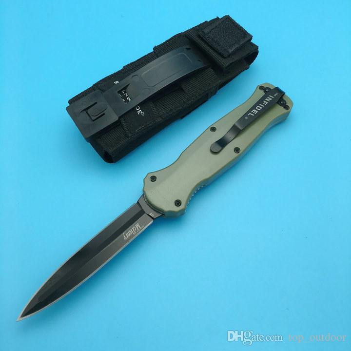 Nouveau BM Benchmade 3300 Infidel ArmyGreen handle D2 Black Out the front Double