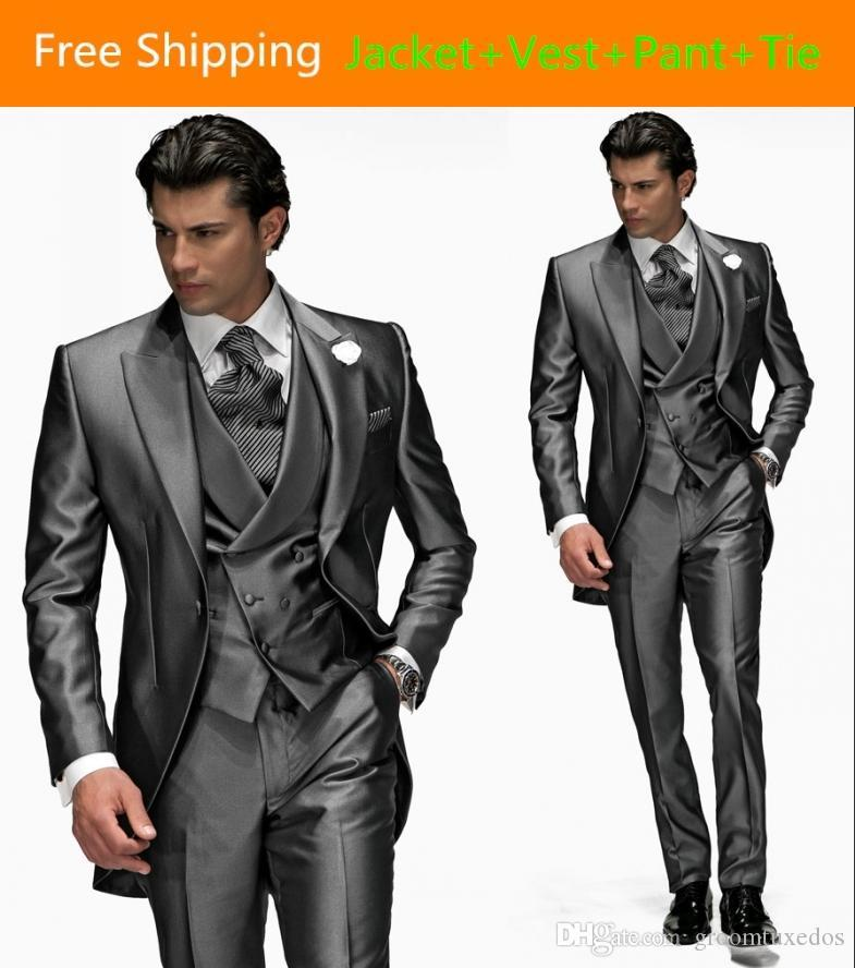 Top Tailor Peak Double Breasted Groom Tuxedos Jacket Pant Vest