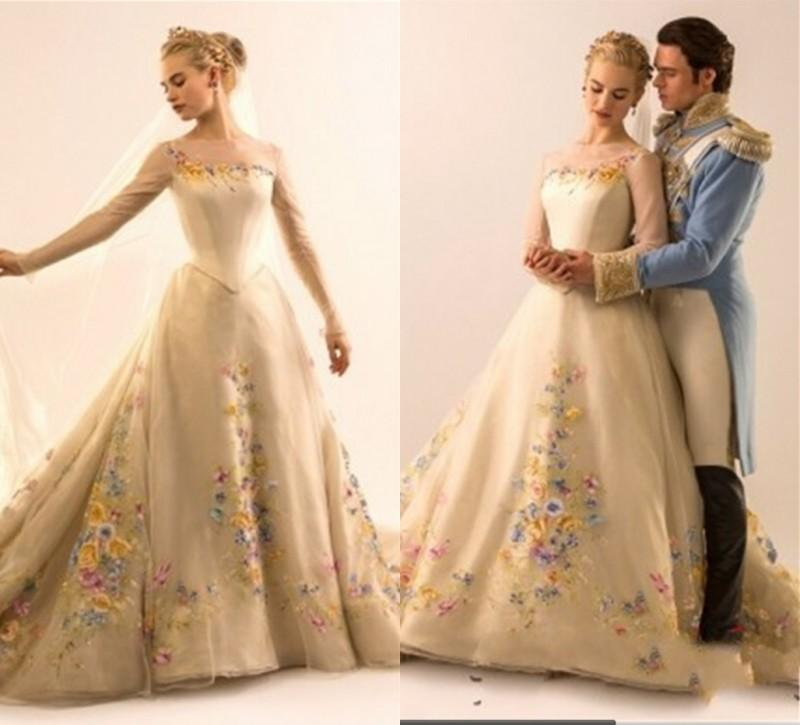 2015 hot sale cinderella wedding dresses illusion long