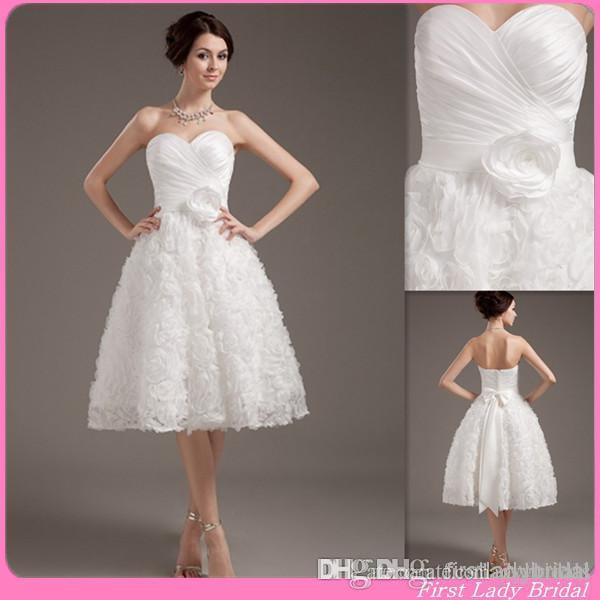 Discount simple cheap tea length wedding gown sweetheart a for Simple wedding dresses under 100