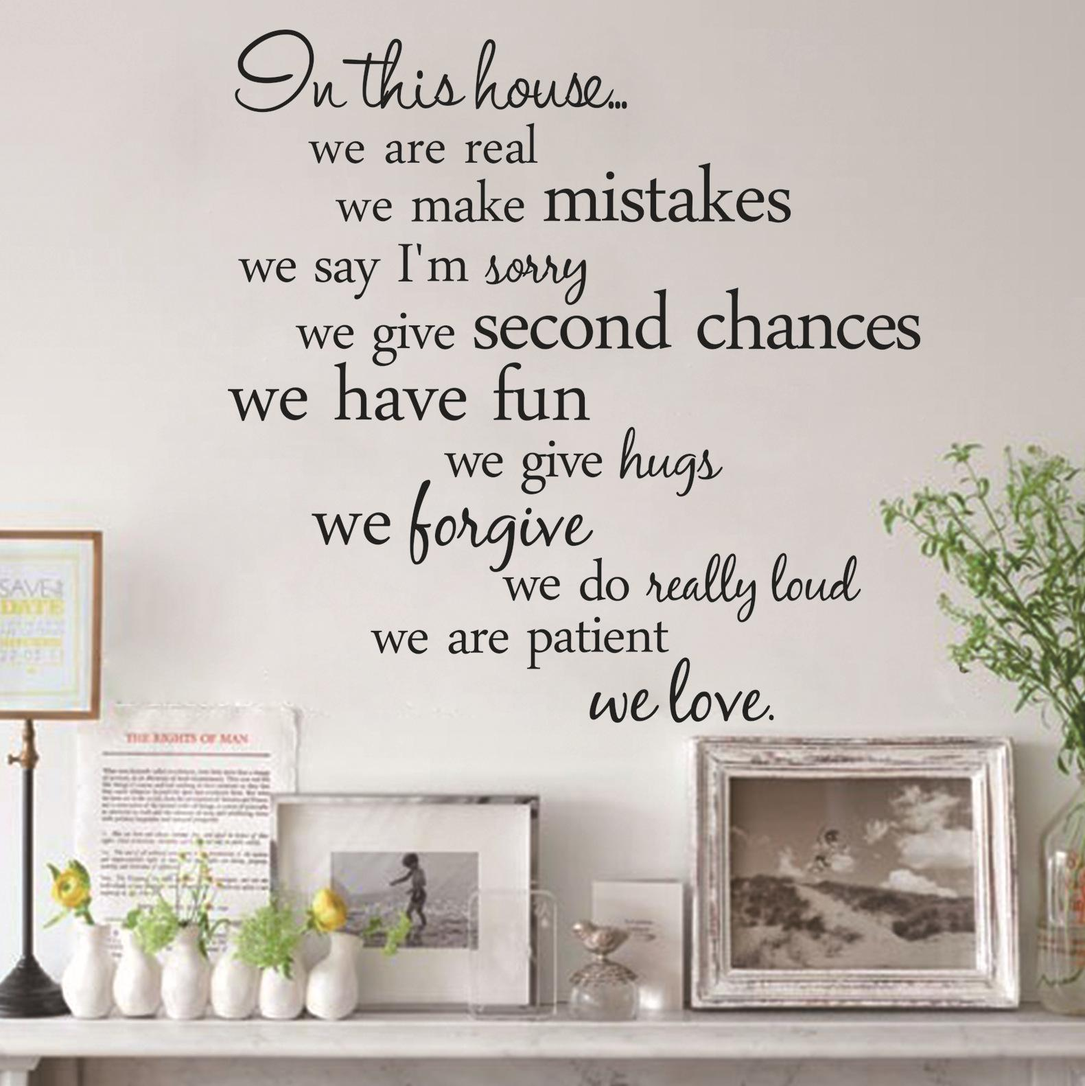2015 english letter in this house living room background wall stickers uote removable wall decal stickers art home decor