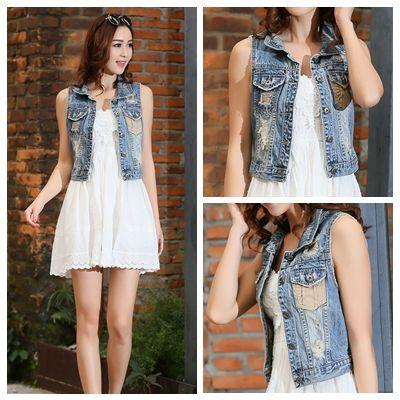 Casual Women Denim Vest Frayed Patchwork Short Jeans Vest Plus ...